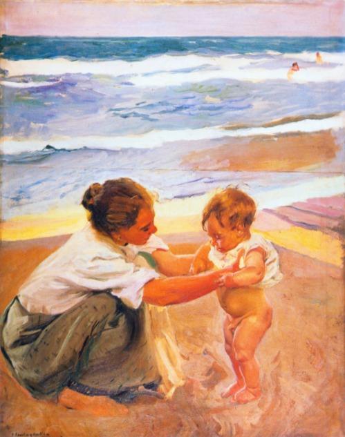 Mother and child on the beach, 1908. Joaquin Sorolla y Bastida (1863-1923)