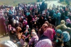 Syriska kvinnor i demonstration, bild från GP